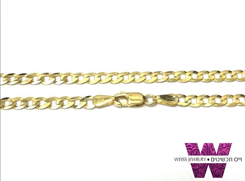 שרשרת זהב מלא לגברים ונשים חוליות שטוחות