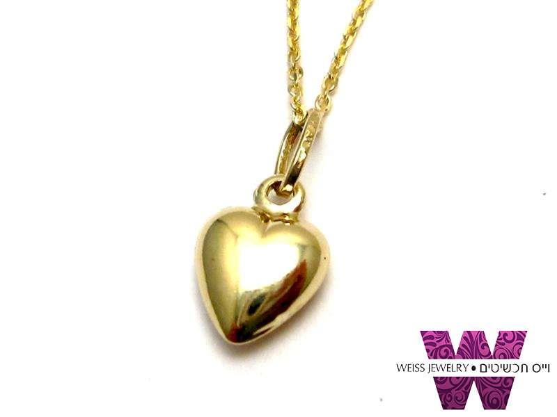 שרשרת זהב לב קטן זהב