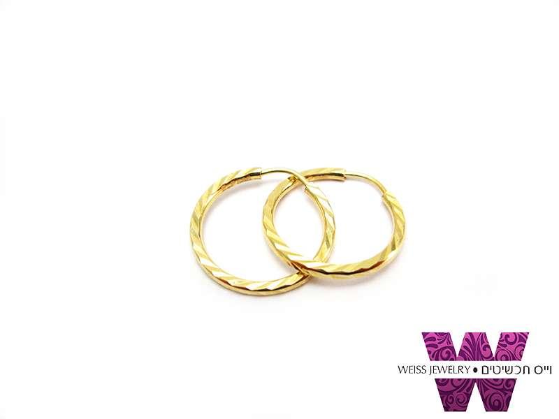 עגילי חישוק זהב אמיתי 14K חיתוך יהלום