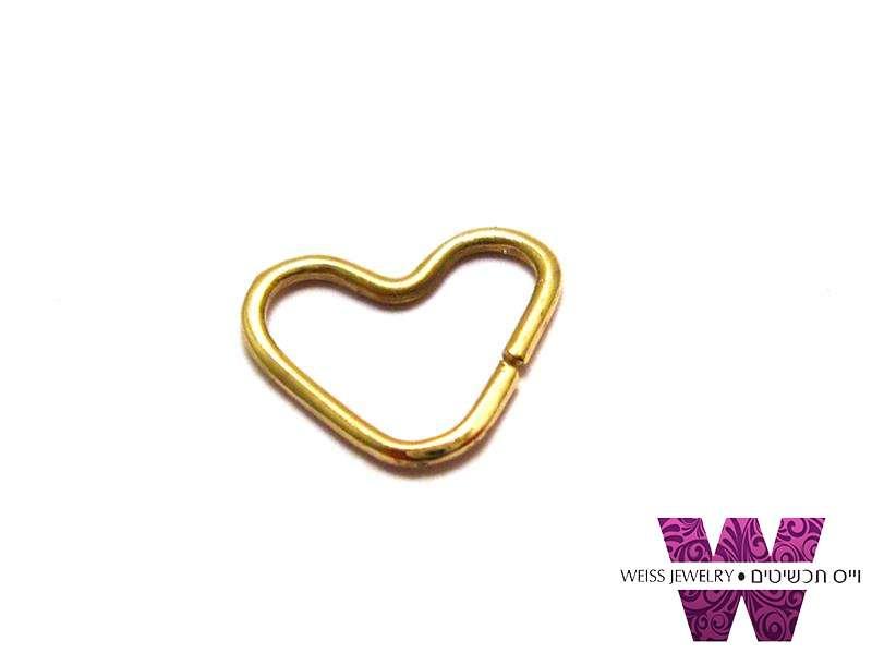 טראגוס לנשים  לב זהב אמיתי 14K