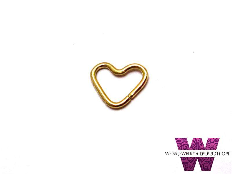 טראגוס זהב לנשים לב קטן  14K