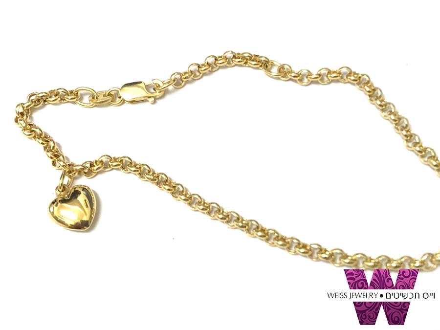 צמיד זהב 14 קראט עם תליון לב תלוי