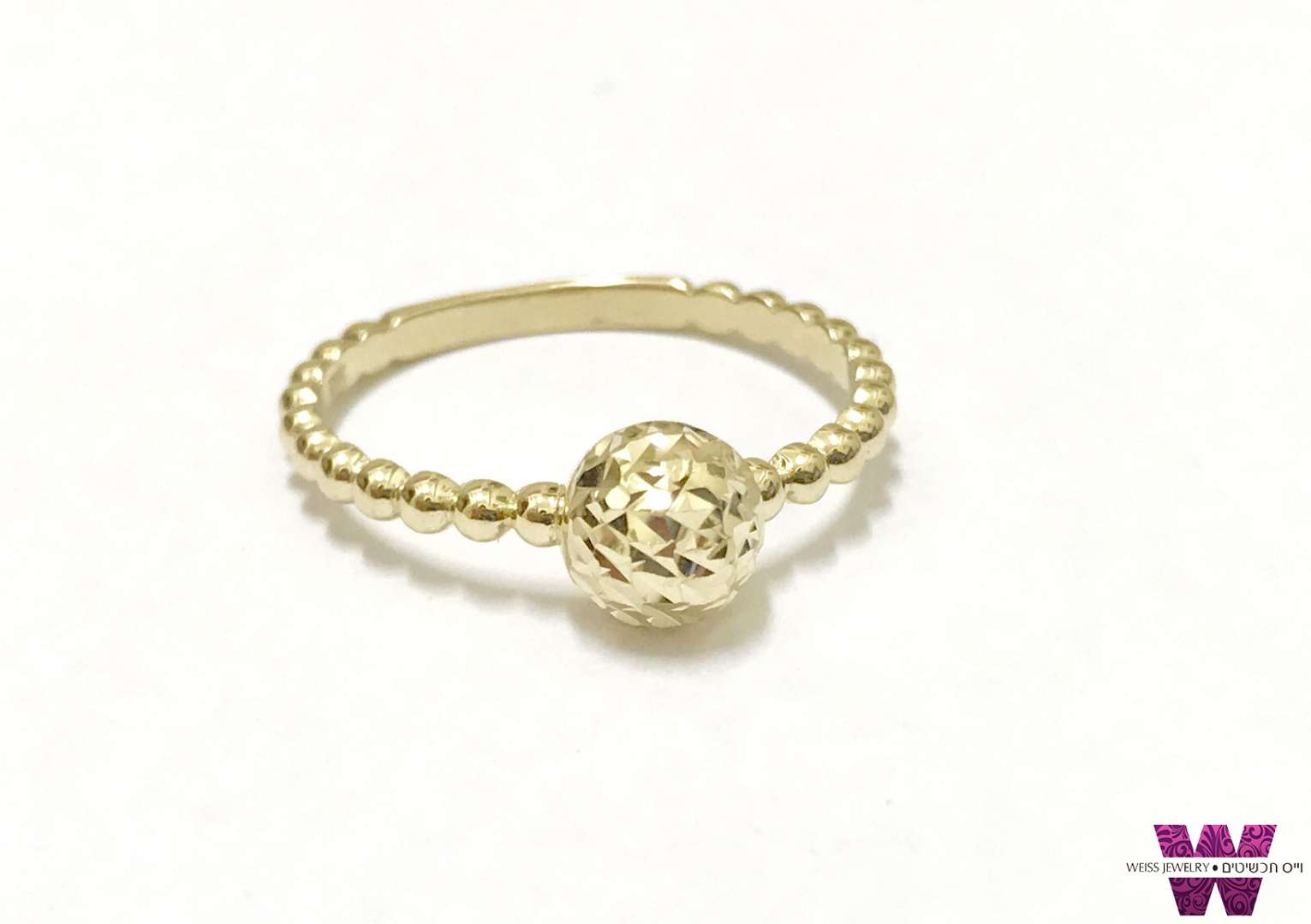 טבעות זהב כדור עם חריטת יהלום