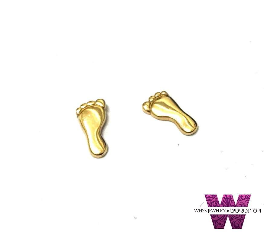 עגילים זהב צמודים כף רגל HANG TEN