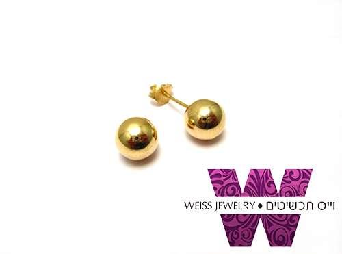 עגילי זהב כדור צמודים דגמים שונים