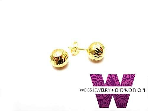 עגילי כדור זהב חיתוך יהלום בסיגנון וינטג' וכדור קטנטן חלק