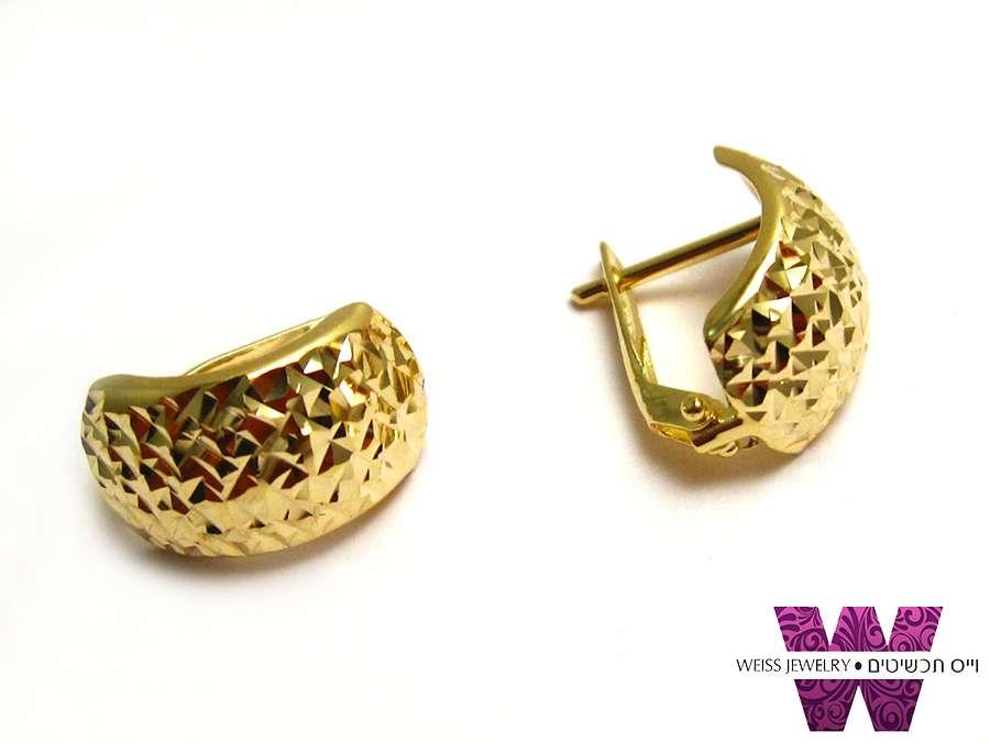 עגילי זהב מקסימים לאישה בגימור חריטת יהלום