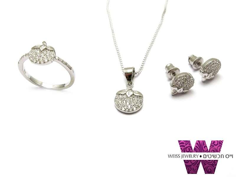 סט תכשיטים כסף שרשרת עגילים וטבעת