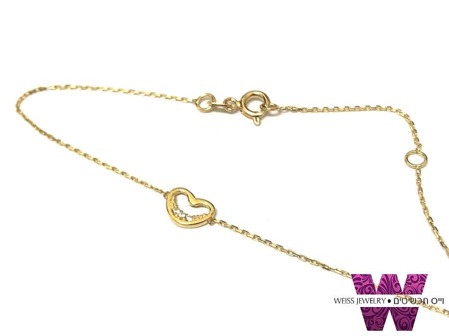 צמיד זהב מקסים דק ועדין עם לב