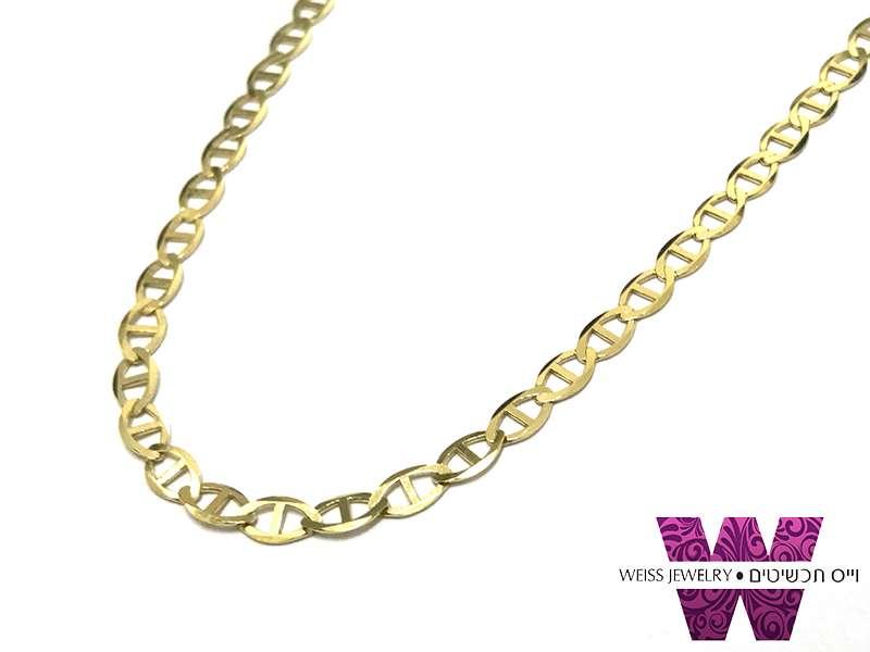 שרשרת זהב לגבר 14K גוצ'י שטוחה ללא תליון