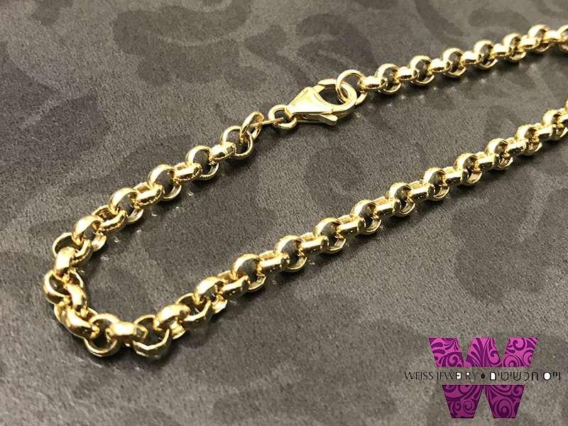 צמיד זהב חוליות רולו עגולות יוניסקס