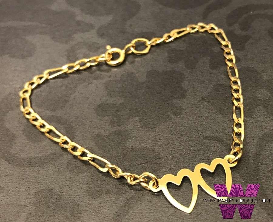 צמיד זהב לתינוקת לבבות