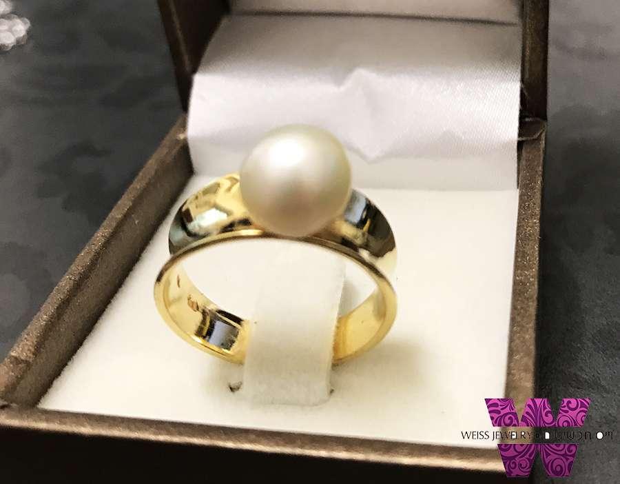 טבעת פנינה אמיתית ציפוי זהב