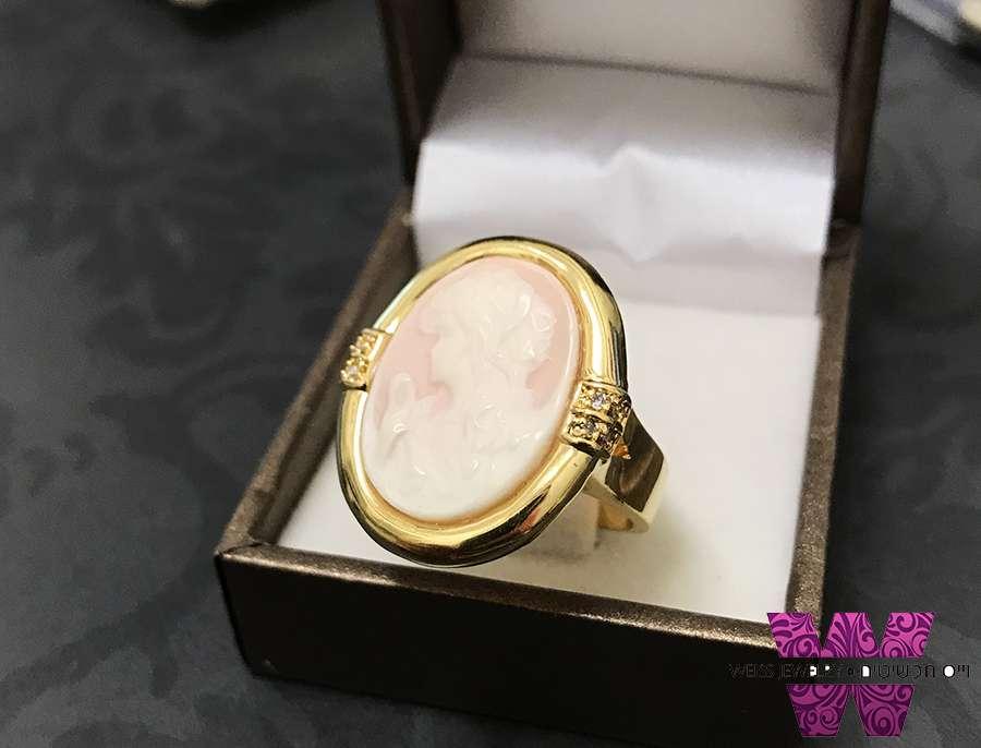 טבעת דמוי צדף ציפוי זהב