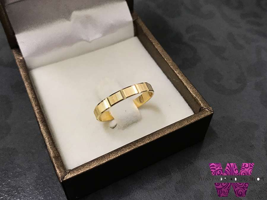 טבעת כסף נישואין ציפוי זהב