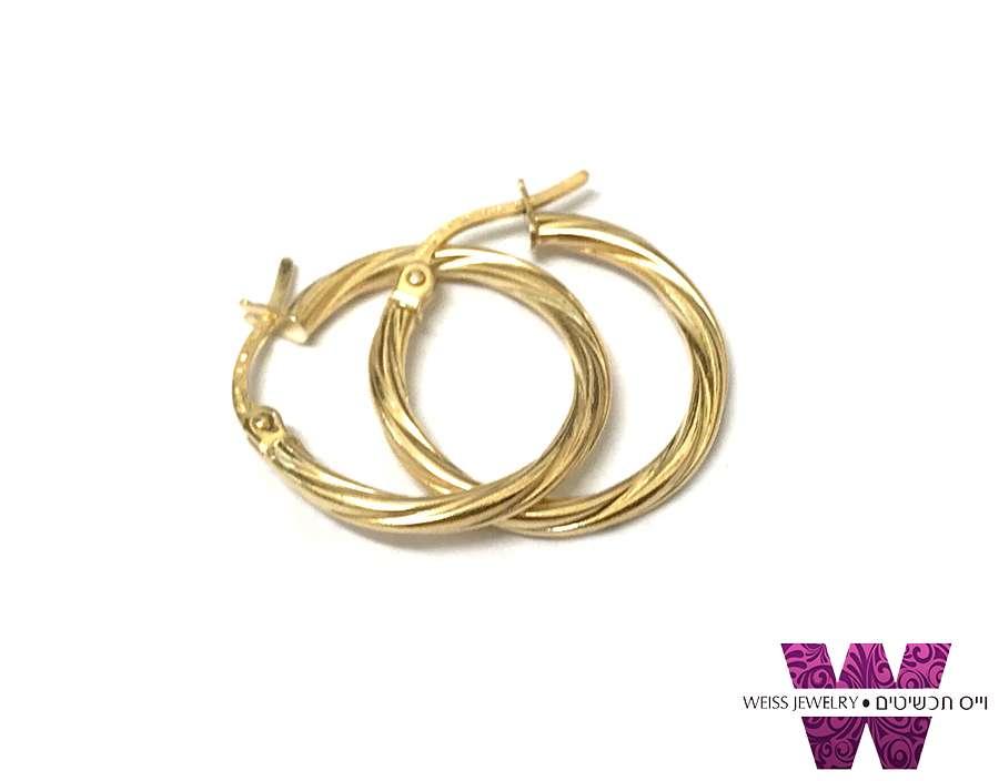 עגילי חישוק קלאסיים זהב 14K