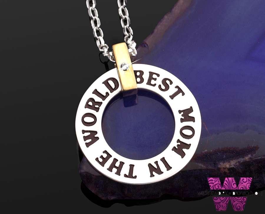 תכשיט מיוחד במינו לאמא הכי טובה בעולם שרשרת כסף 925