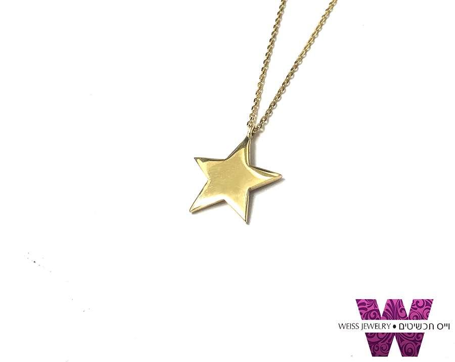 תליון כוכב זהב 14K